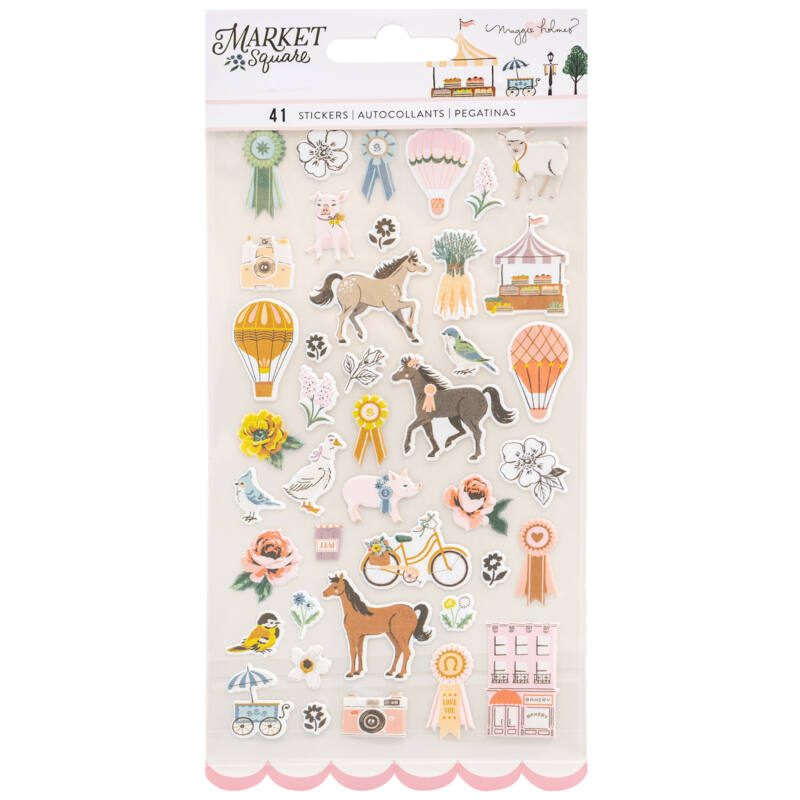 American Crafts - Maggie Holmes - Market Square Puffy Stickers (41 Piece)