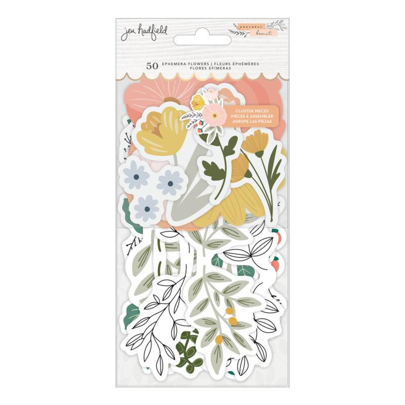 American Crafts - Jen Hadfield - Peaceful Heart Ephemera - Floral (50 Pieces)