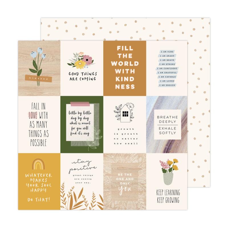 American Crafts - Jen Hadfield - Peaceful Heart 12x12 Paper - Peaceful Heart