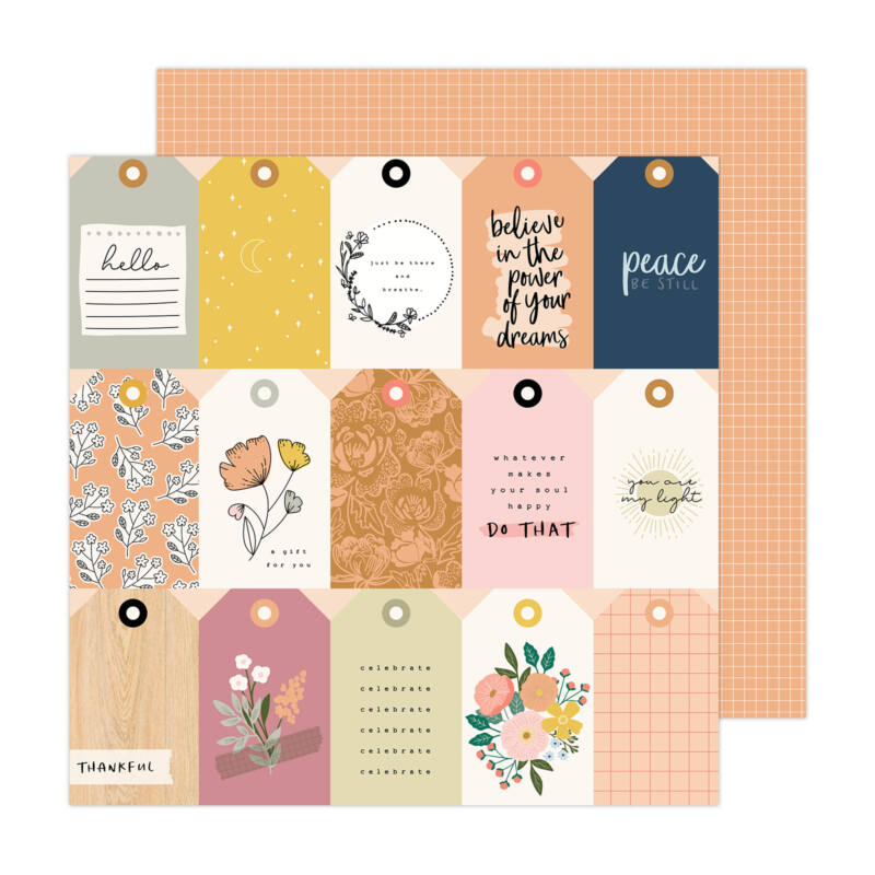 American Crafts - Jen Hadfield - Peaceful Heart 12x12 Paper - Thankful