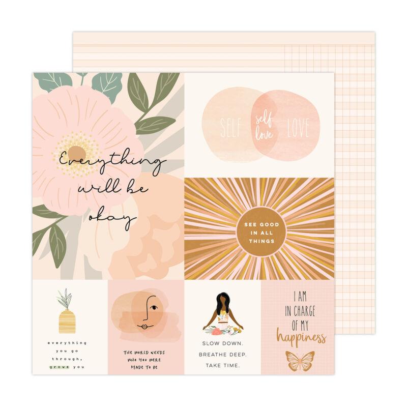 American Crafts - Jen Hadfield - Peaceful Heart 12x12 Paper - Good Things