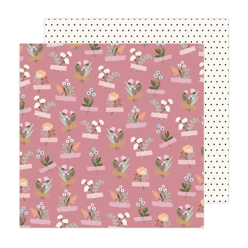 American Crafts - Jen Hadfield - Peaceful Heart 12x12 Paper - Self Care