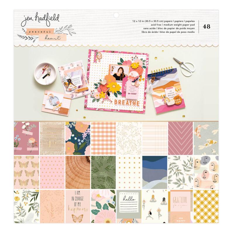 American Crafts - Jen Hadfield - Peaceful Heart 12x12 Paper Pad (48 Sheets)