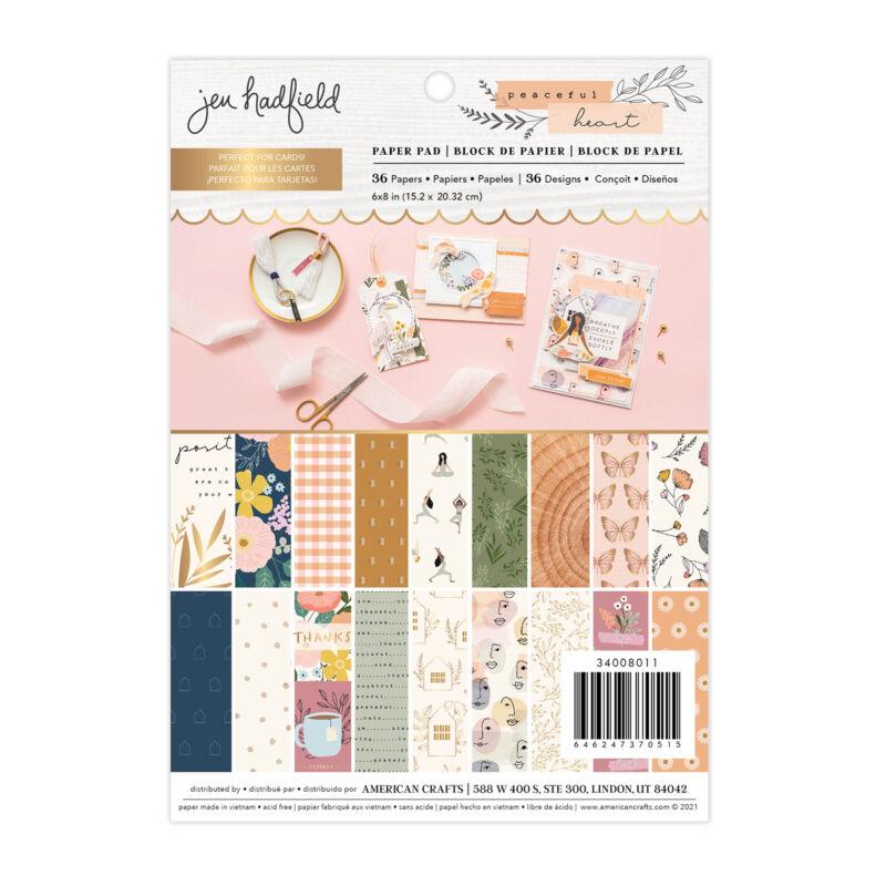 American Crafts - Jen Hadfield - Peaceful Heart 6x8 Paper Pad (36 Sheets)