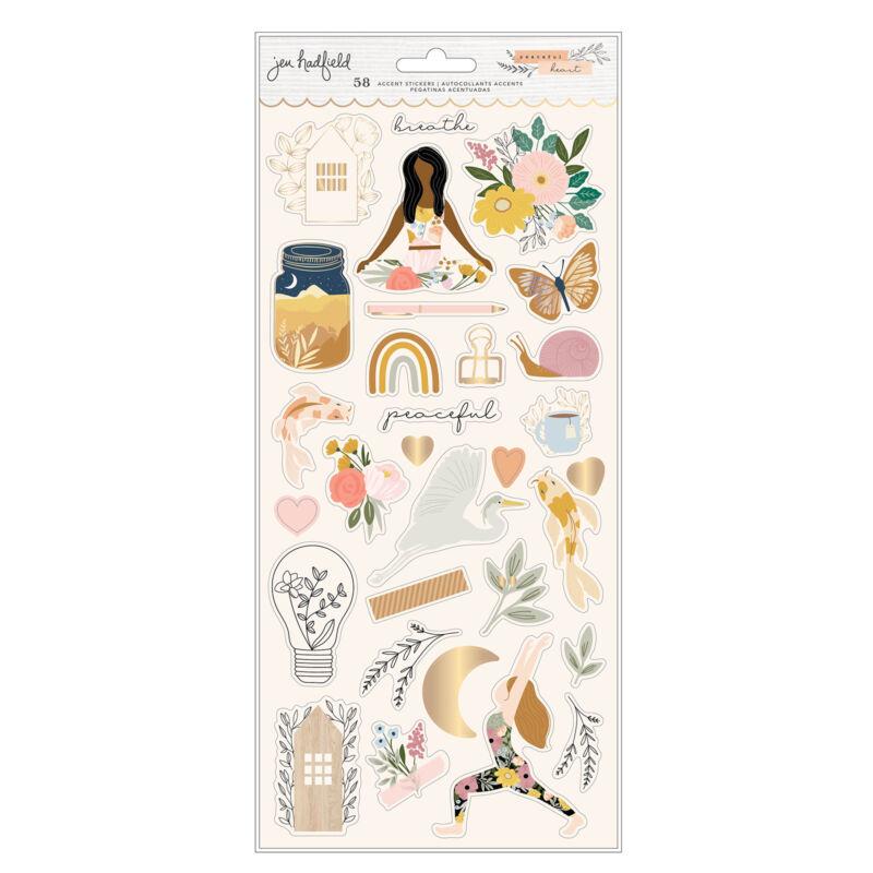 American Crafts - Jen Hadfield - Peaceful Heart 6x12 Sticker (93 Piece)