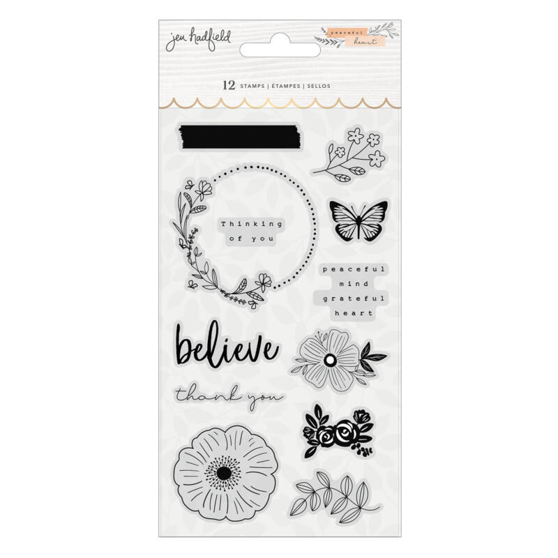 American Crafts - Jen Hadfield - Peaceful Heart Acrylic Stamps (12 Piece)