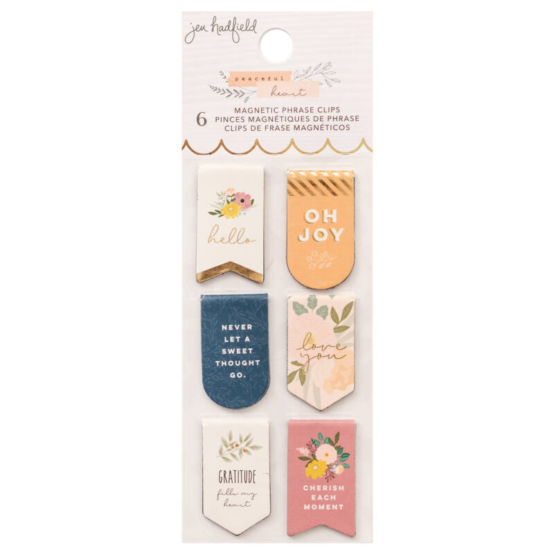American Crafts - Jen Hadfield - Peaceful Heart Magnetic Bookmarks (6 Pieces)