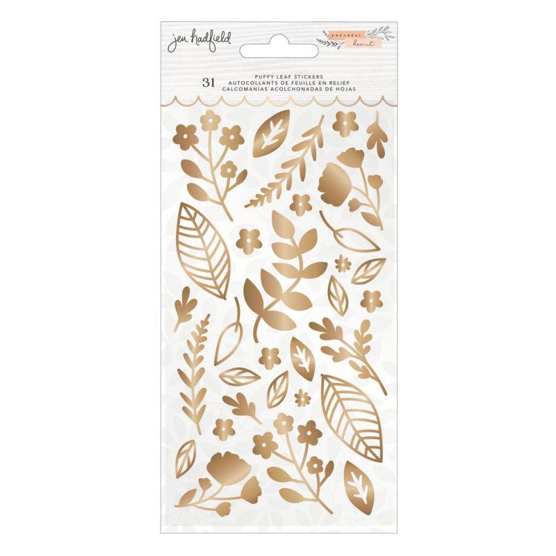 American Crafts - Jen Hadfield - Peaceful Heart Puffy Leaf Sticker (31 Pieces)