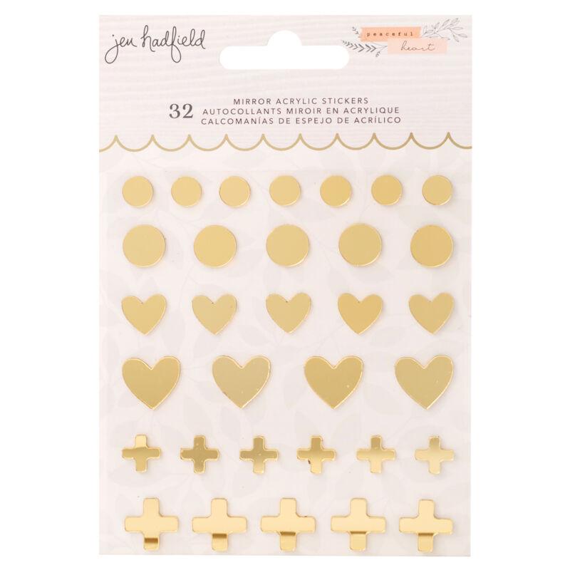 American Crafts - Jen Hadfield - Peaceful Heart Mirrored Acrylic Sticker (32 Pieces)