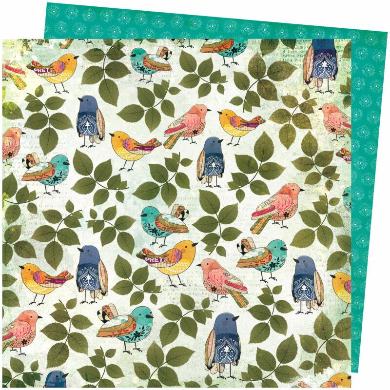 American Crafts - Vicki Boutin - Storyteller 12x12 Paper - Songbird