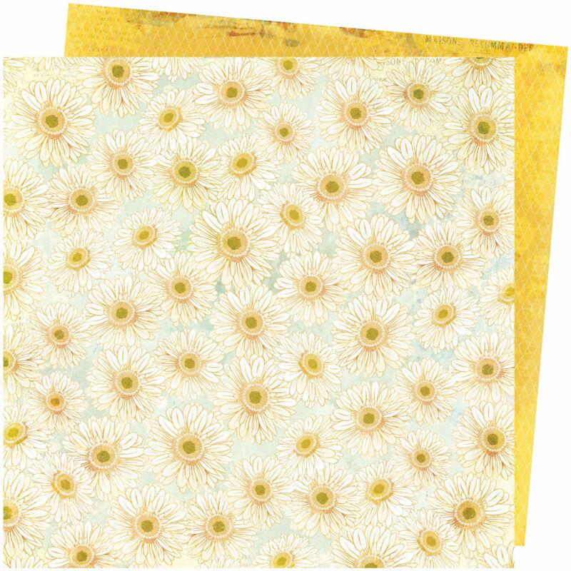 American Crafts - Vicki Boutin - Storyteller 12x12 Paper - Daisies