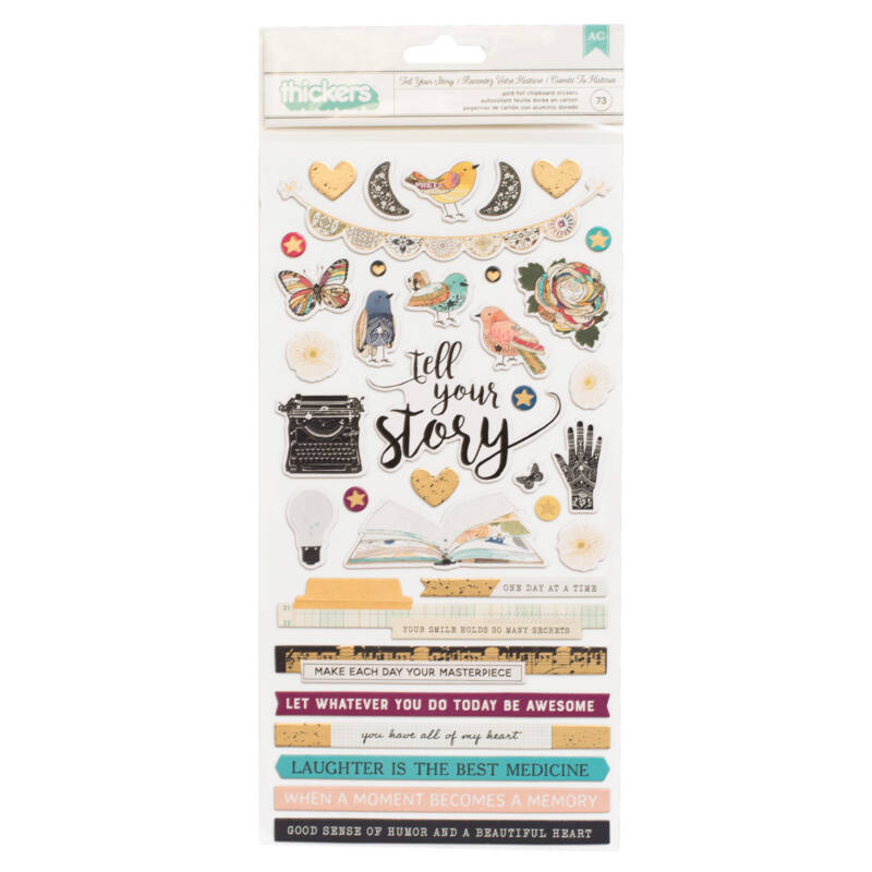 American Crafts - Vicki Boutin - Storyteller Chipboard Thickers - Tell Your Story (73 Piece)