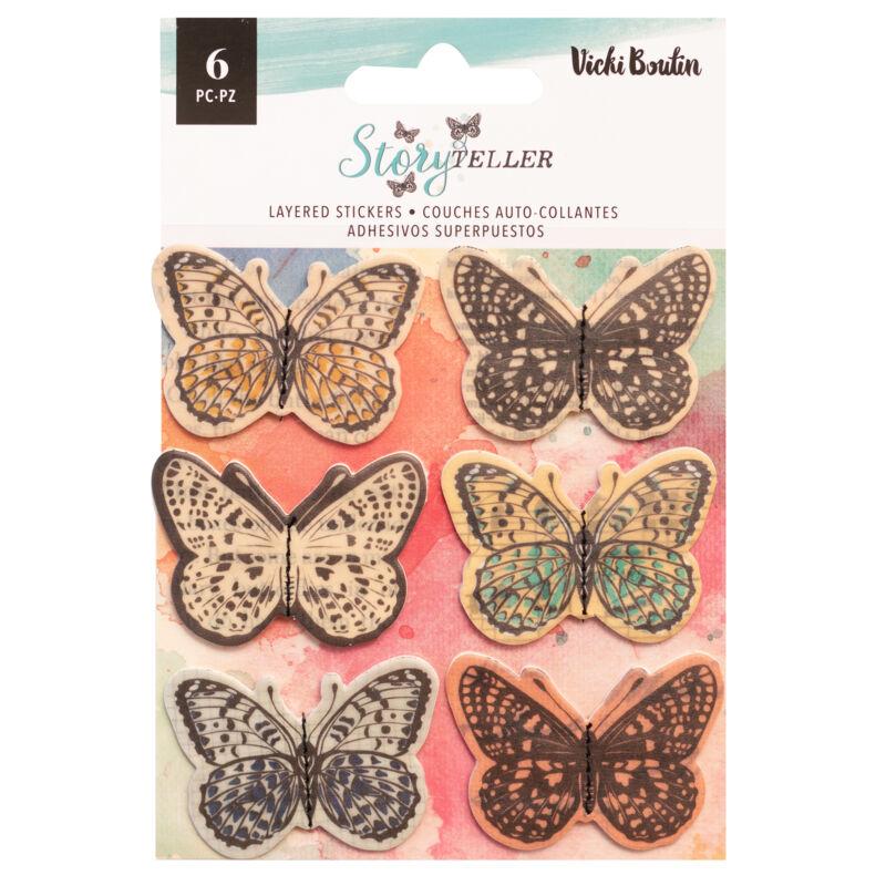 American Crafts - Vicki Boutin - Storyteller Vellum Layered Butterflies (6 Piece)