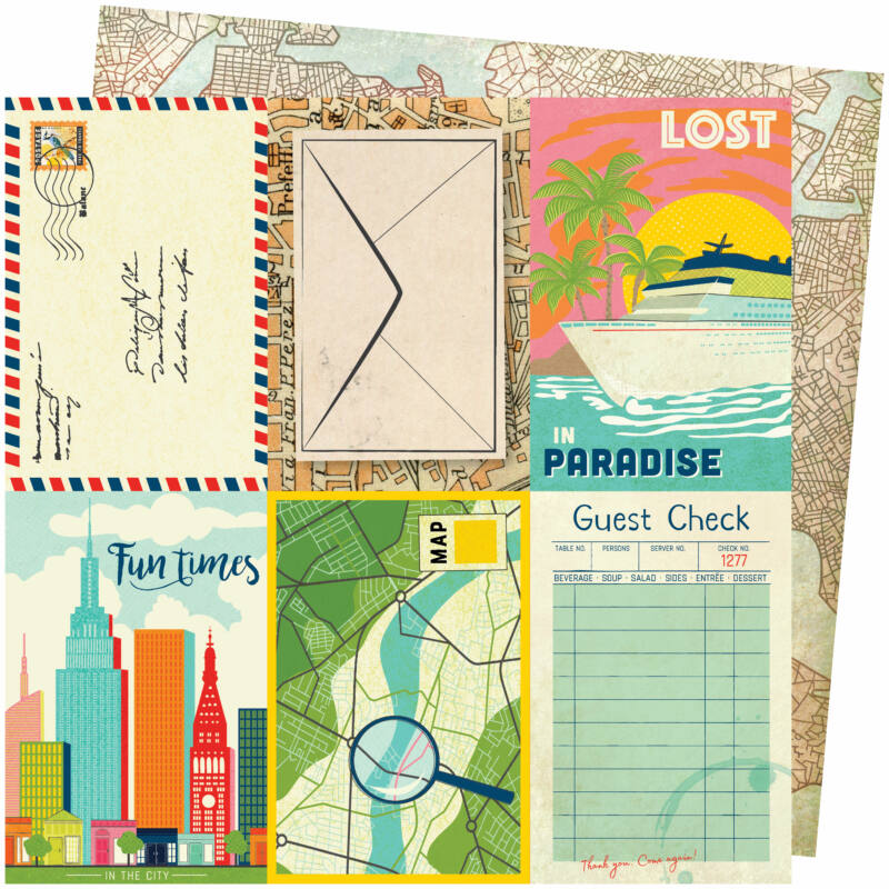 American Crafts - Vicki Boutin - Let's Wander 12x12 Paper - Lost In Paradise