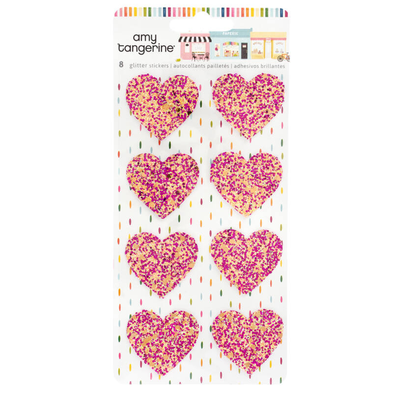 American Crafts - Amy Tangerine - Slice of Life Glitter Heart Stickers (8 Piece)