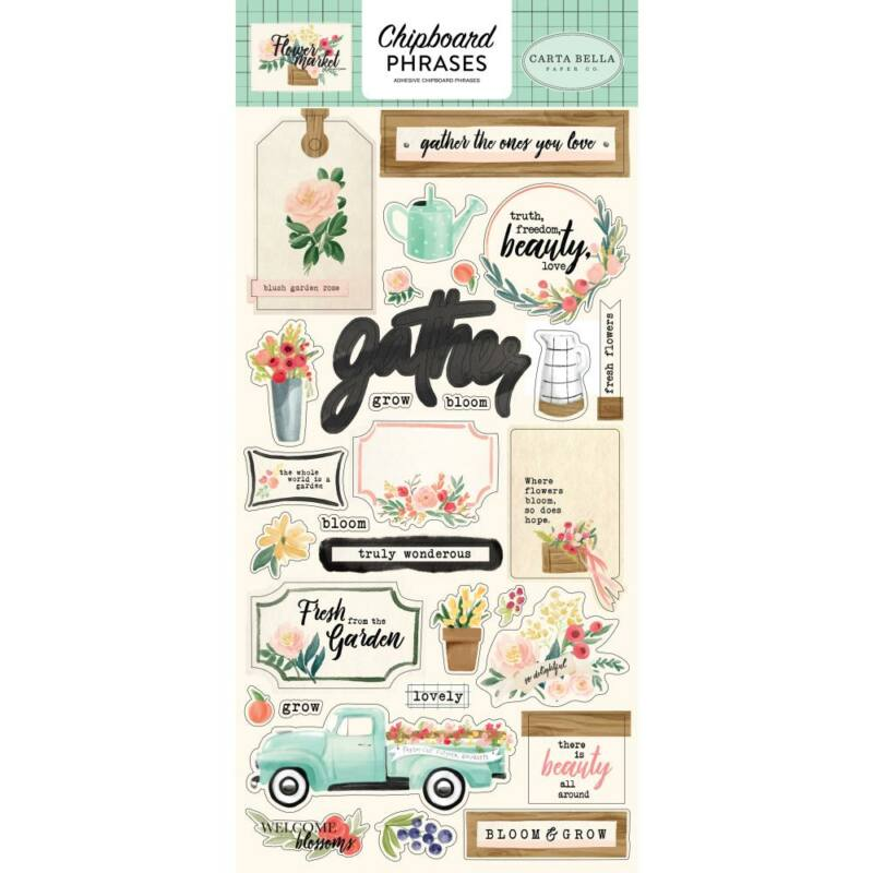 Carta Bella - Flower Market  6x13 Chipboard - Phrases
