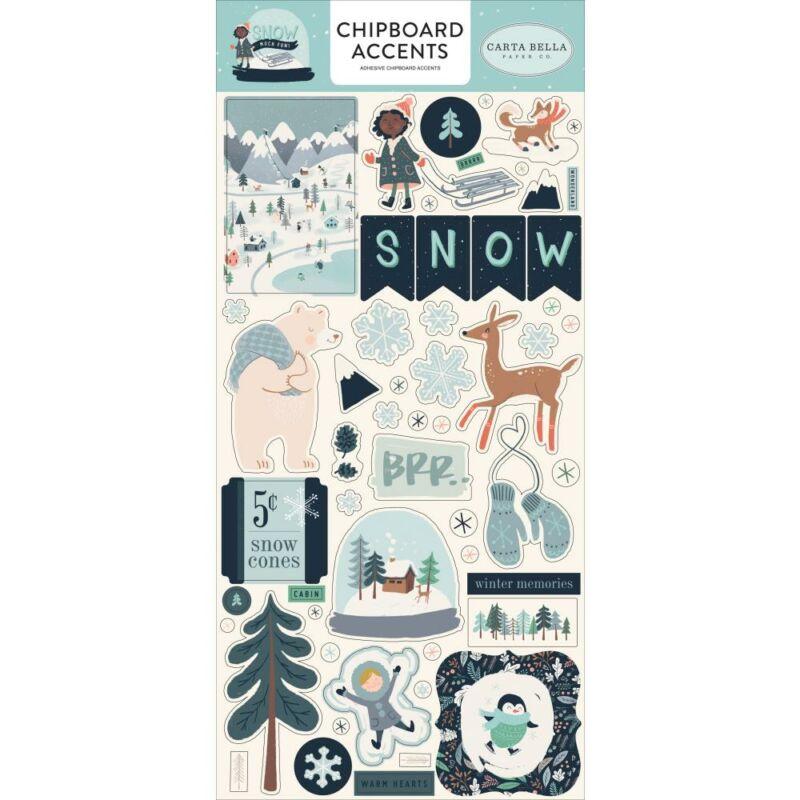 Carta Bella - Snow Much Fun 6x13 Chipboard Stickers - Accents