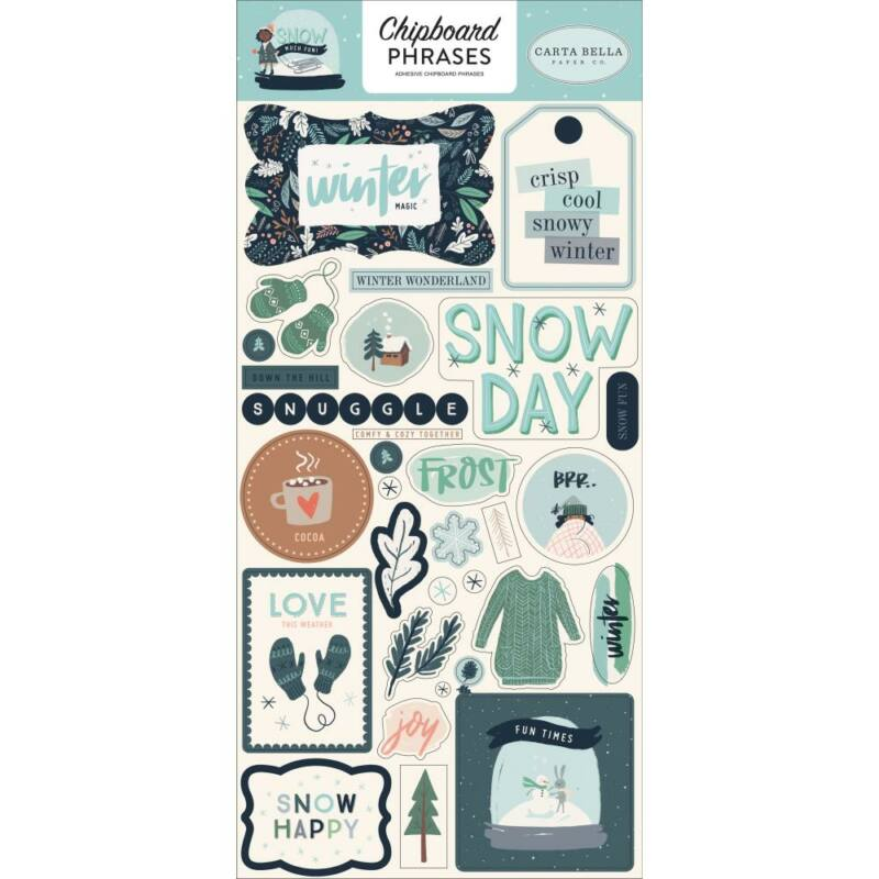 Carta Bella - Snow Much Fun 6x13 Chipboard Stickers - Phrases
