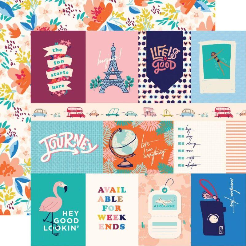 Carta Bella - Let's Travel 12x12 scrapbook paper - 3X4 Journaling Cards