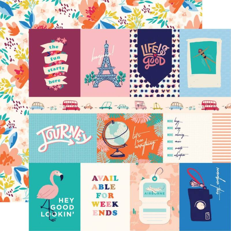Carta Bella - Let's Travel 12x12 scrapbook papír - 3X4 Journaling Cards