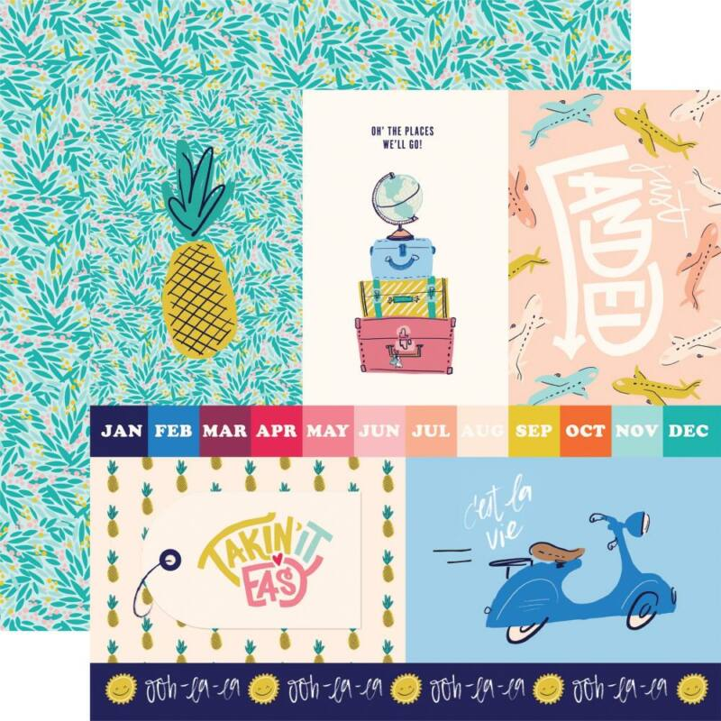 Carta Bella - Let's Travel 12x12 scrapbook paper - 4x6 Journaling Cards