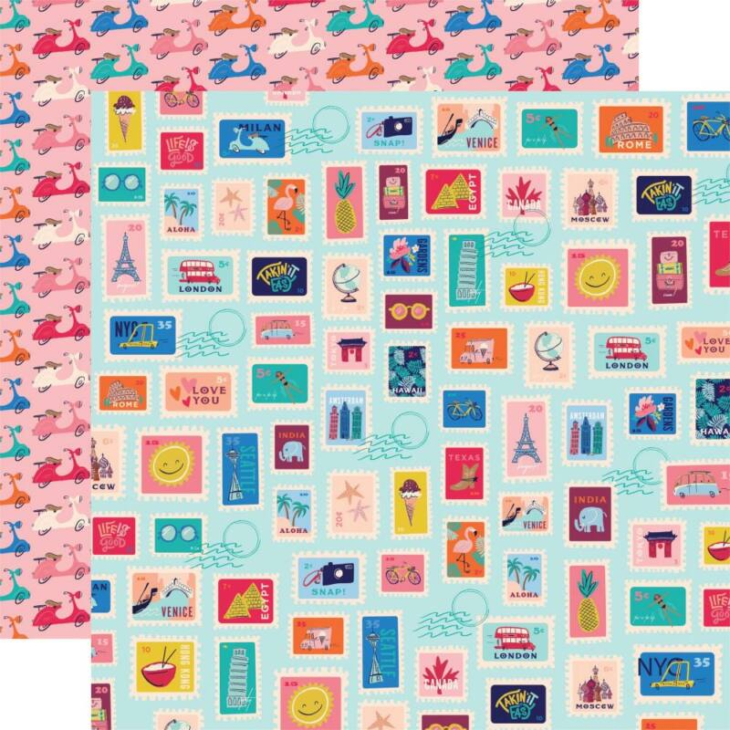Carta Bella - Let's Travel 12x12 scrapbook paper - Postage Stamps