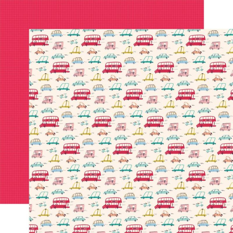 Carta Bella - Let's Travel 12x12 scrapbook paper - Tourist Class
