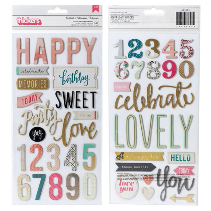 Crate Paper - Maggie Holmes Confetti Chipboard Thickers (42 Pieces)