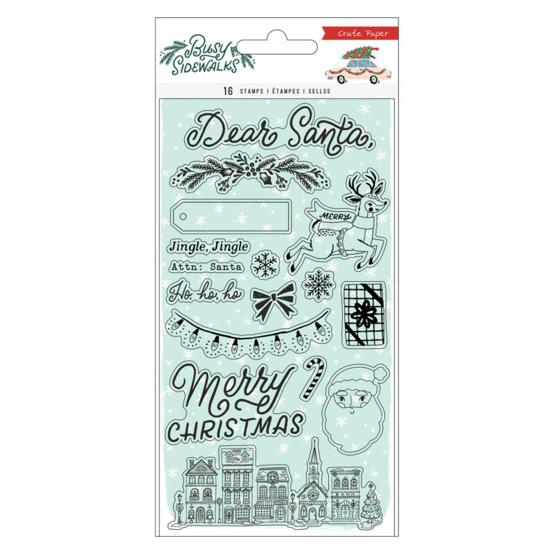 Crate Paper - Busy Sidewalks Acrylic Stamp (16 Piece)