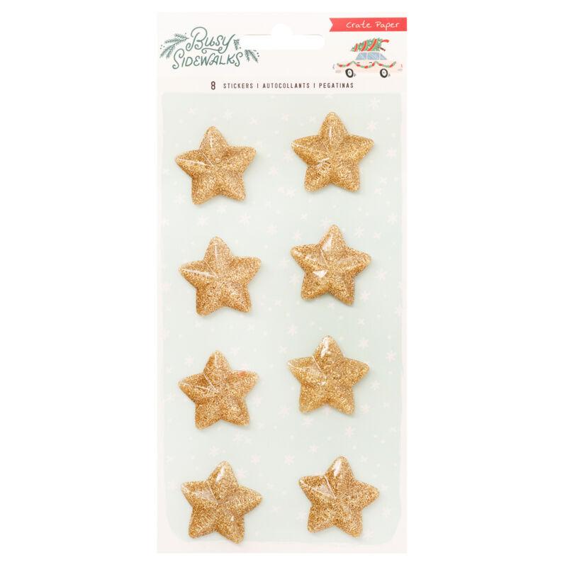 Crate Paper - Busy Sidewalks Gold Resin Stars Sticker (8 Piece)