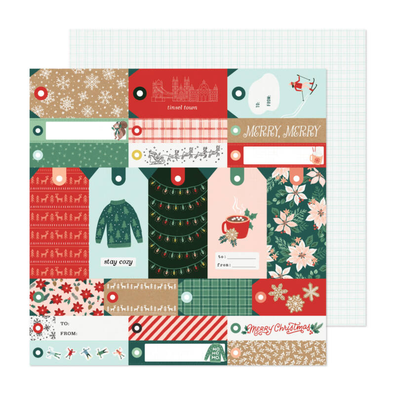 Crate Paper - Busy Sidewalks 12x12 Paper - Merry Merry
