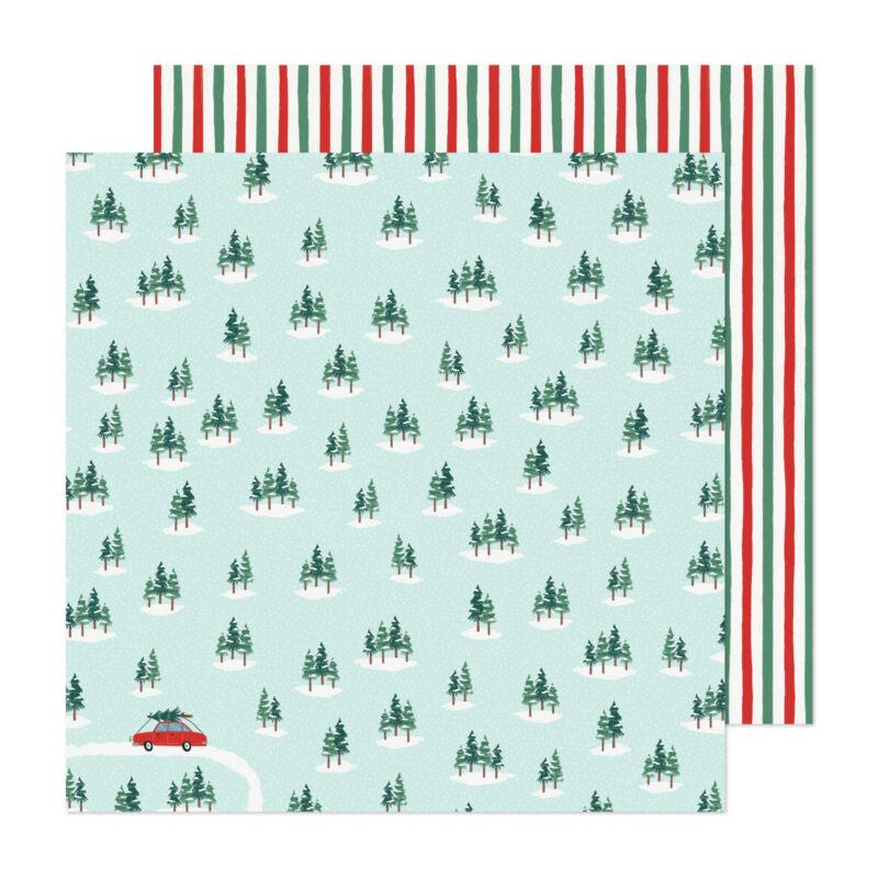 Crate Paper - Busy Sidewalks 12x12 Paper - Christmas Tree Farm