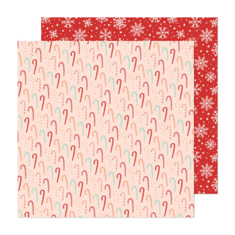 Crate Paper - Busy Sidewalks 12x12 Paper - Candy Cane Christmas