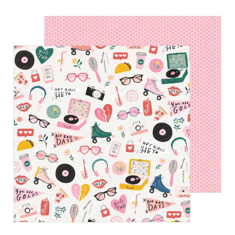 Crate Paper - All Heart 12x12 Patterned Paper - Cute Stuff