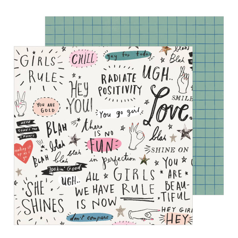 Crate Paper - All Heart 12x12 Patterned Paper - Go Girl
