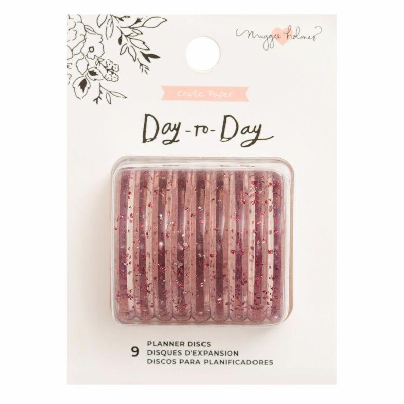 Crate Paper - Maggie Holmes Disc Planner - Pink Glitter  Disc - Medium (9 Piece)