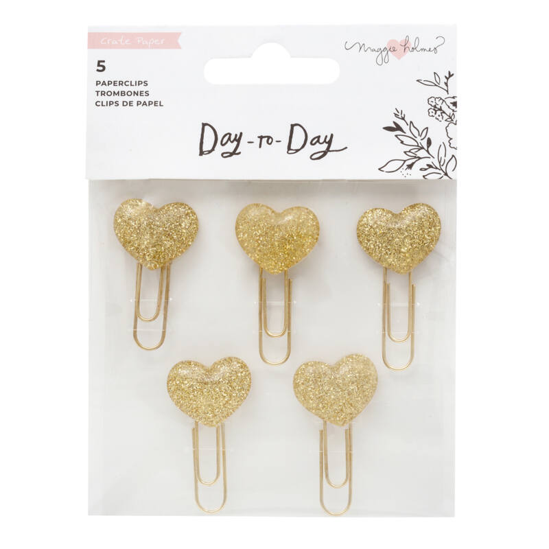 Crate Paper - Maggie Holmes Disc Planner - Heart Paper Clips (5 Piece)