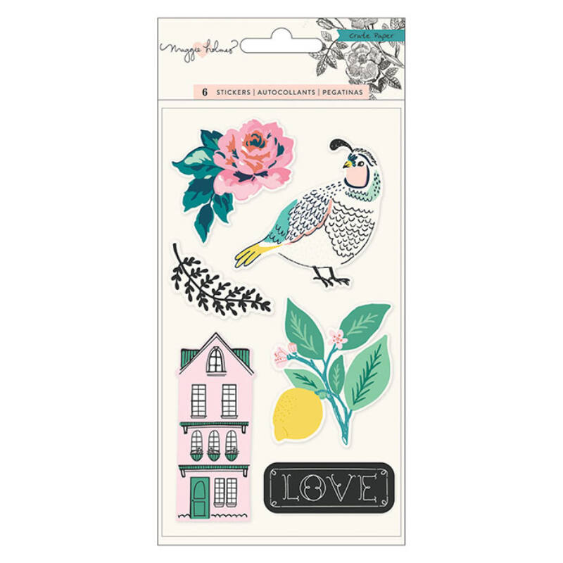 Crate Paper - Maggie Holmes Flourish Embossed Puffy Stickers