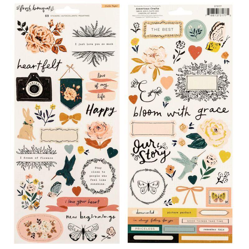 Crate Paper - Fresh Bouquet 6x12 Sticker Sheet (68 Piece)