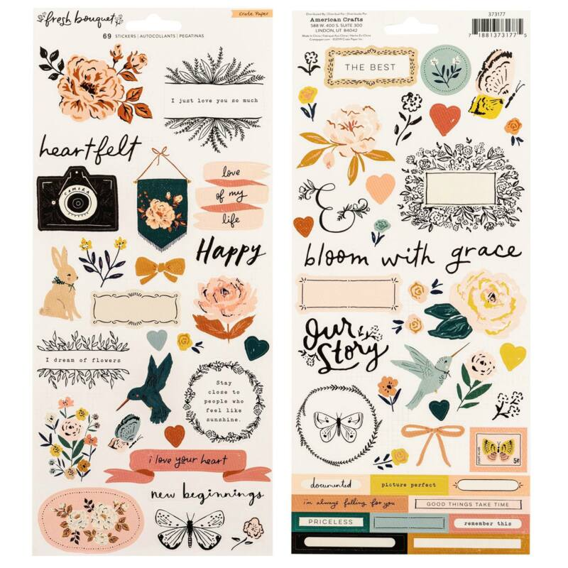 Crate Paper - Fresh Bouquet 6x12 Sticker Sheet (68 Piece)