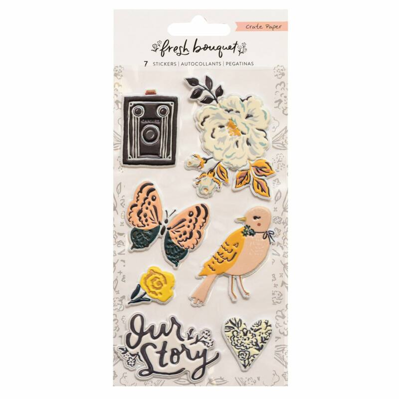 Crate Paper - Fresh Bouquet Embossed Puffy Sticker