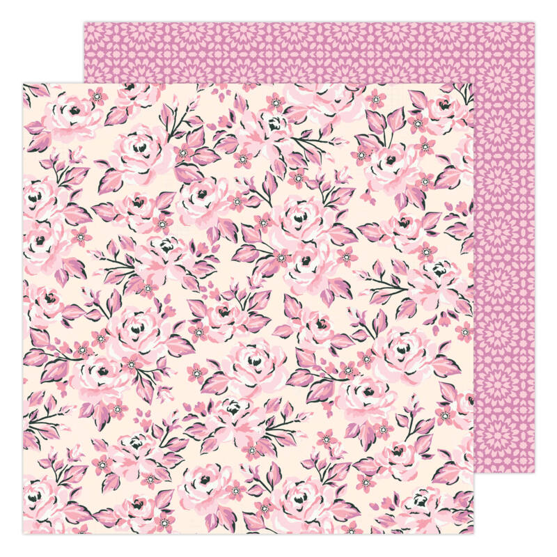 American Crafts - Maggie Holmes - Garden Party 12x12 Paper - Pink Rose Buds