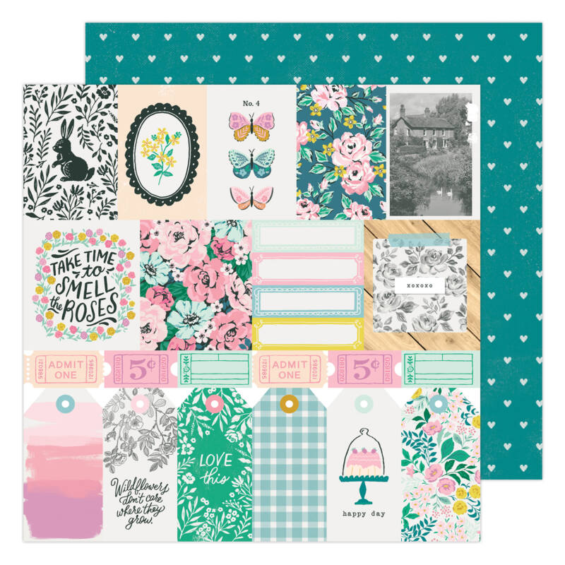 American Crafts - Maggie Holmes - Garden Party 12x12 Paper - Happy Day