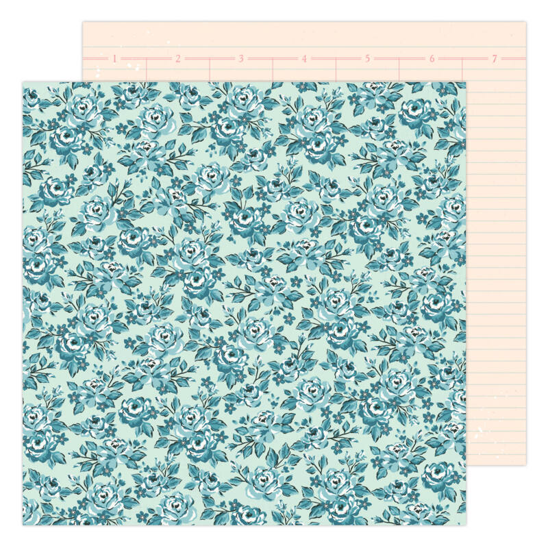 American Crafts - Maggie Holmes - Garden Party 12x12 Paper - Blossom In Blue