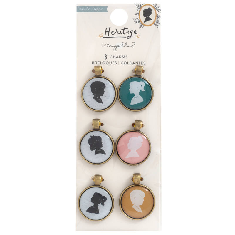 Crate Paper - Maggie Holmes - Heritage Epoxy Portrait Charms (6 Piece)