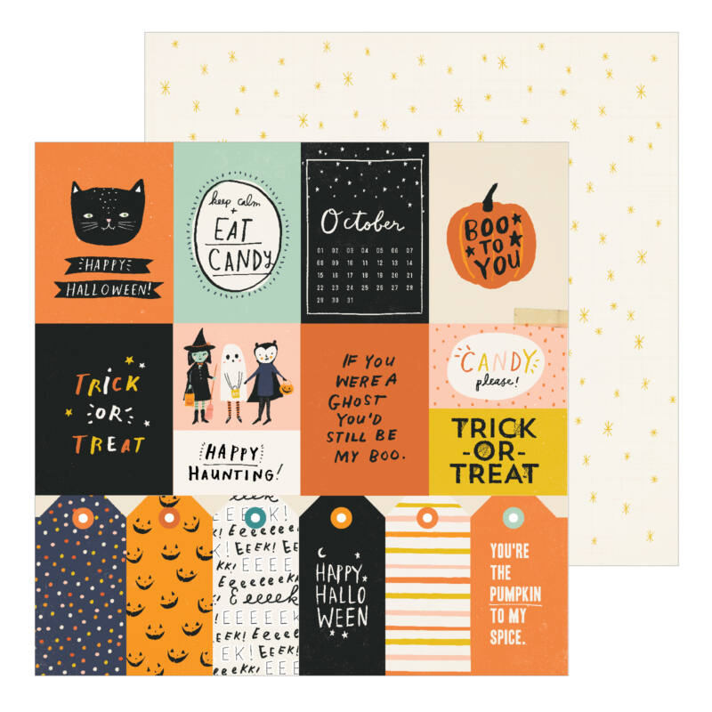 Crate Paper - Hey, Pumpkin 12x12 Patterned Paper - Treats Please