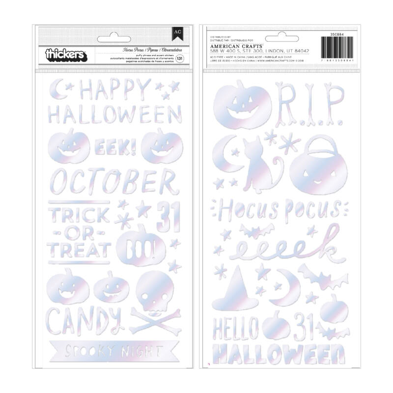 Crate Paper - Hey, Pumpkin  Holographic   Puffy Phrase Thickers (131 Piece)