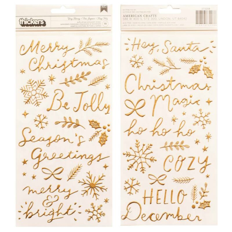 Crate Paper - Hey, Santa Thickers Puffy Accent & Phrase - Very Merry (111 Piece)