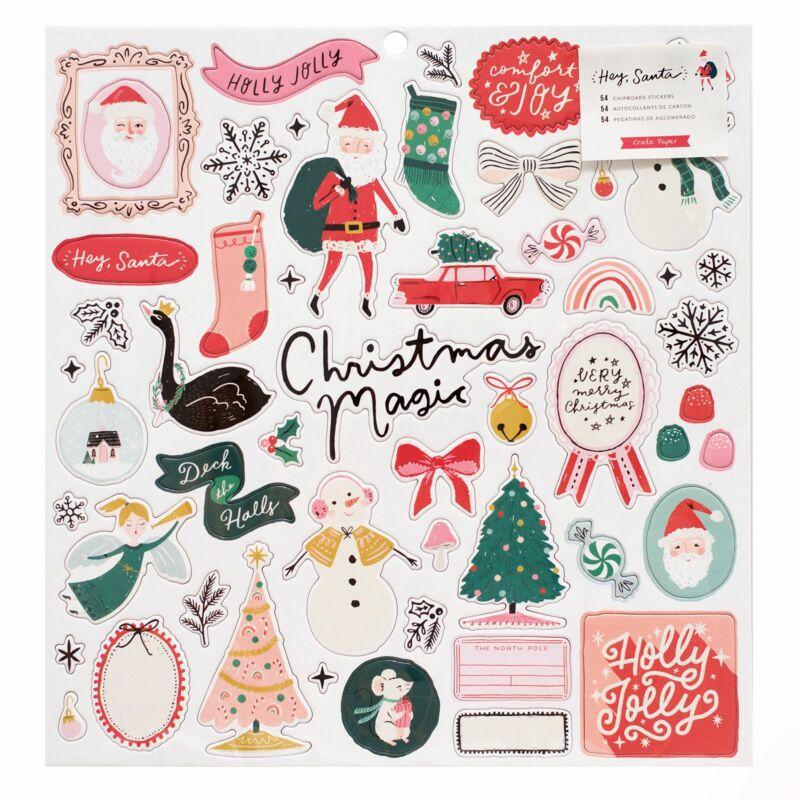 Crate Paper - Hey, Santa 12x12 Chipboard Stickers (54 Piece)