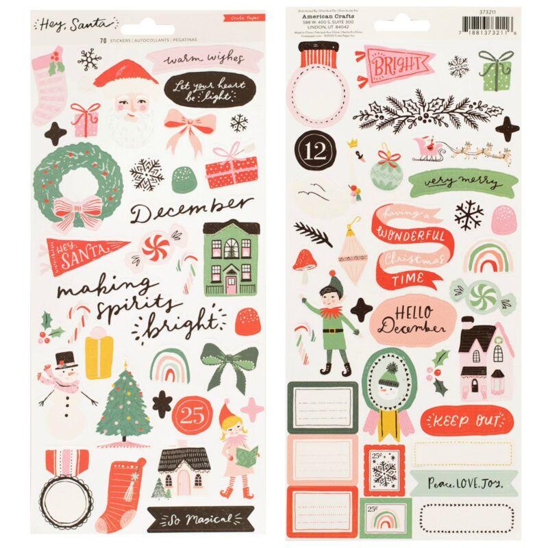 Crate Paper - Hey, Santa 6x12 Sticker Sheet (70 Piece)